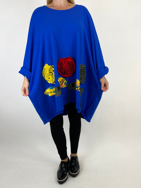 Lagenlook Corolla Flower Hem Sweatshirt in Royal Blue.code 909691 - Lagenlook Clothing UK