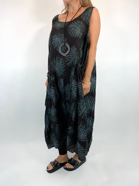 Lagenlook Beverly Palm Leaf Print linen Tunic in Black. code 6978