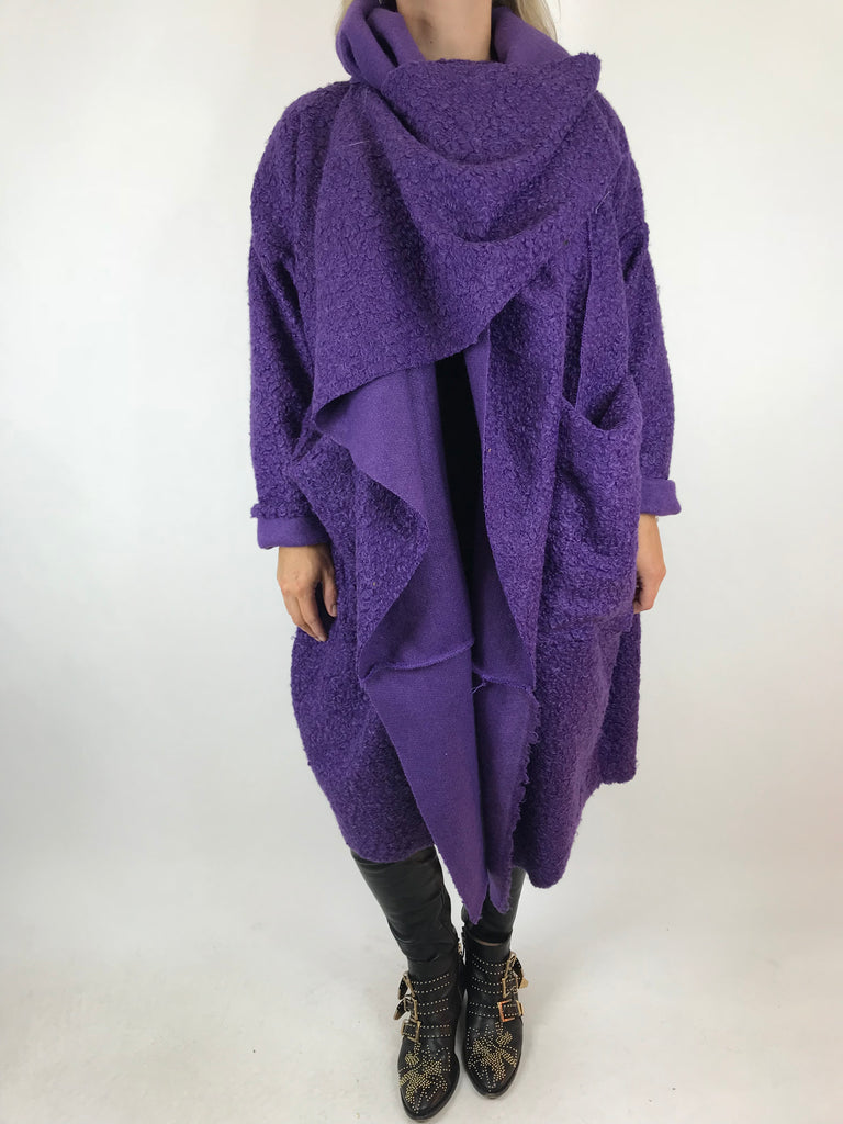 Lagenlook Verity Quirky Wrap Snood Plus Size in Purple. code 5554