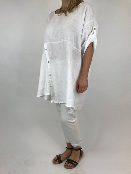 Lagenlook Lydia button Top in White.code 5711