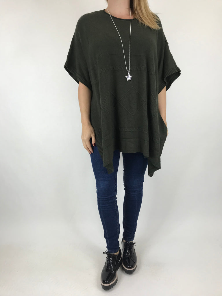 Lagenlook Cable Poncho Jumper in Khaki. code 5939