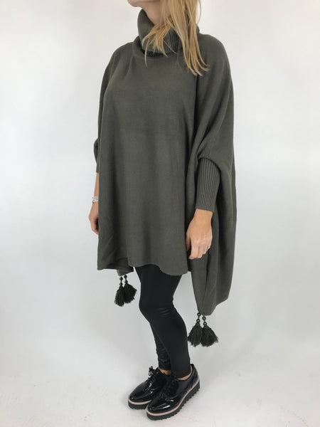 Lagenlook Melody Oversized Jumper in Khaki. code 2692 - Lagenlook Clothing UK