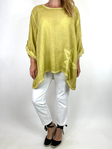 Lagenlook Acidwash Star top in Yellow. code 10052