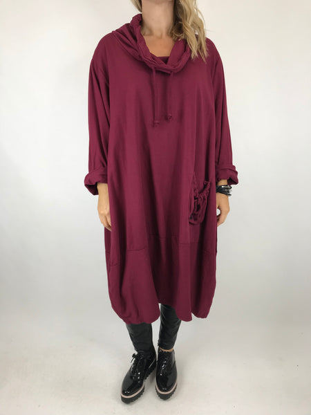 Lagenlook Made in Italy Drawstring cowl Neck Tunic in Wine. code 5502