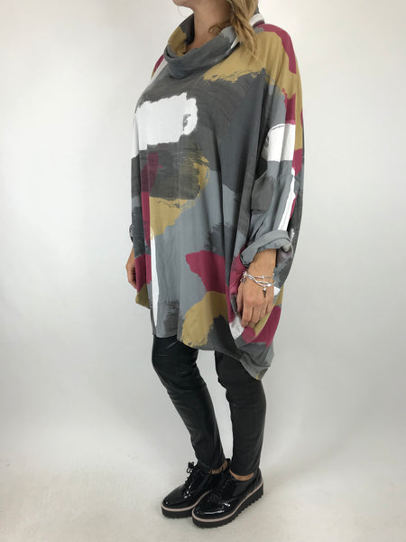 Lagenlook Cowl Neck Paint Splash Print Top in Pale Grey. code 9810 - Lagenlook Clothing UK