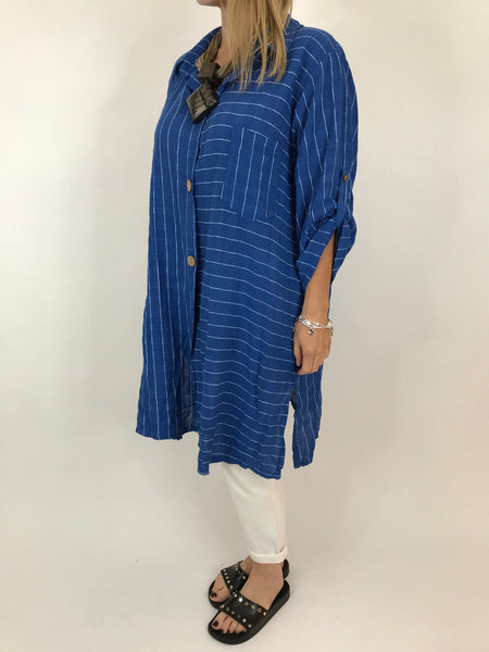 Lagenlook Dele Cotton Shirt in Royal Blue. Code 90873