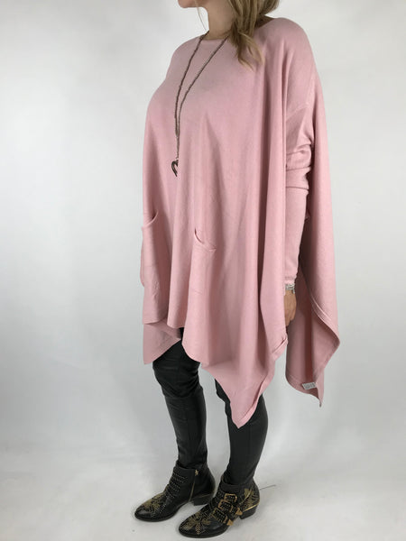 Lagenlook Knitted Poncho In Baby Pink. code 16024