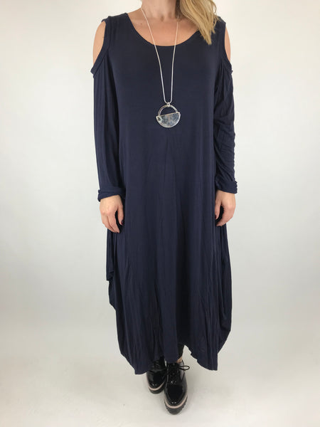 Lagenlook Alley Cold Shoulder Tunic in Navy. code 1025