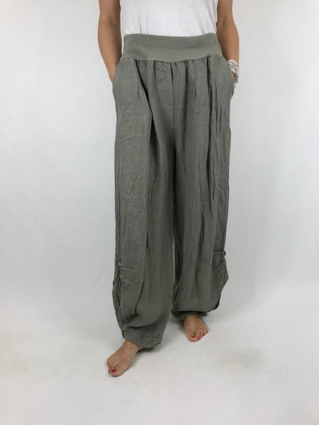 Lagenlook Hetty Button Linen Trousers in Khaki. code 5028