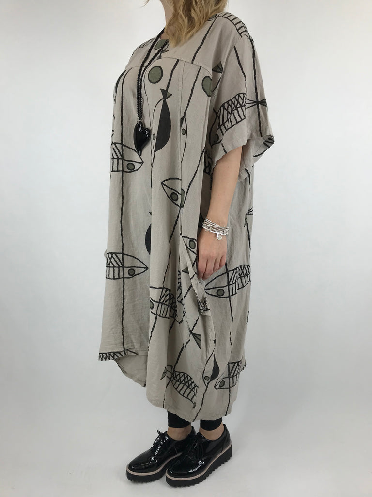Lagenlook Linen Blend Quirky Patterned Tunic in Sand. code 39113