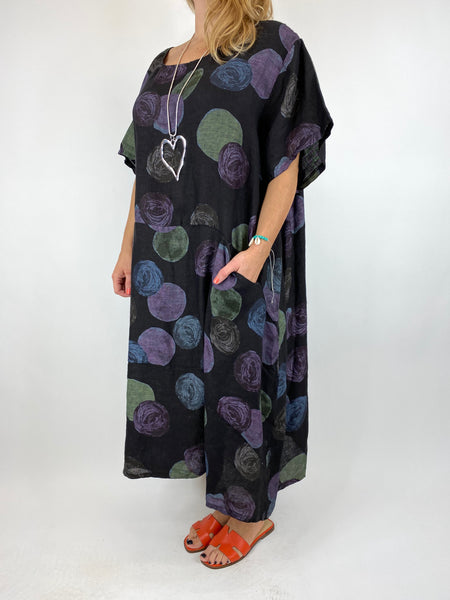 Lagenlook Wimborne Paint Dot Tunic in Black. code 7688