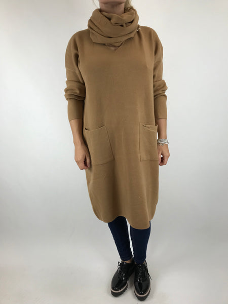 Lagenlook Molly Snood knit in Camel. code 6002