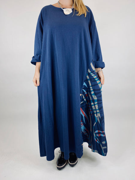 Lagenlook Daly Wave Button Skirt Tunic in Navy. code 86201