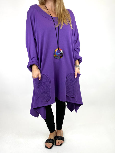 Lagenlook Holly Point Hem Cotton Sweatshirt in Purple. code 91012 - Lagenlook Clothing UK