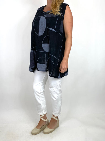 Lagenlook Linen Vest Top in Black . code 6112