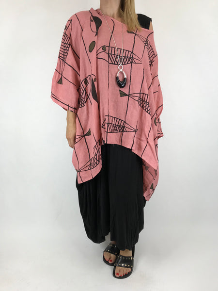 Lagenlook Linen Quirky Print Poncho Top in Salmon. Code 18057