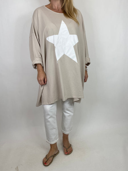 Lagenlook Solo Star Print Sweatshirt Top Tunic in Cream. Code 9482