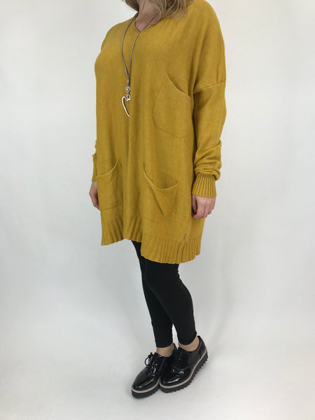 Lagenlook Grove V- Neck Knit jumper in Mustard. code 6077