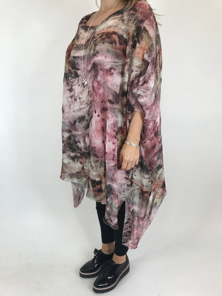Lagenlook Cosmic Silk Poncho Top in Pale pink. code 1727
