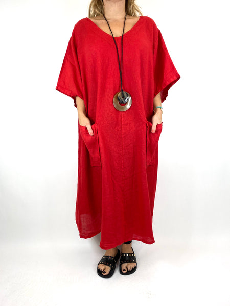 Lagenlook Deana V- Neck Linen Tunic in Red . code 8588