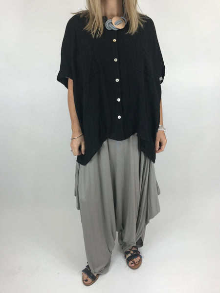 Lagenlook suzie button summer Top in Black.code 01065
