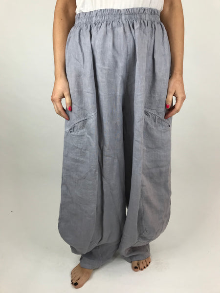 Lagenlook Alice wide Leg Linen Trousers in Pale Grey. code 4758