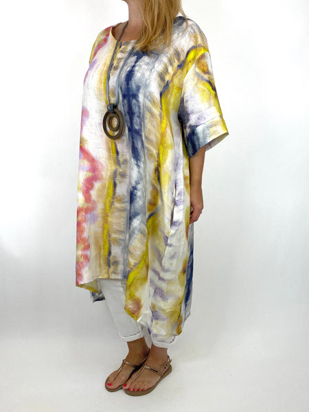 Lagenlook  Bernie Tie-Dye Linen Tunic in Yellow/Navy Mix . code 9611