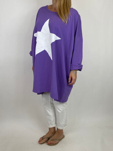 Lagenlook Solo Star Print Sweatshirt Top Tunic in Purple. Code 9482 - Lagenlook Clothing UK