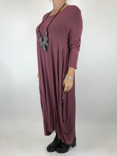 Lagenlook Tilly Long Jersey Tunic in Aubergine code 1553