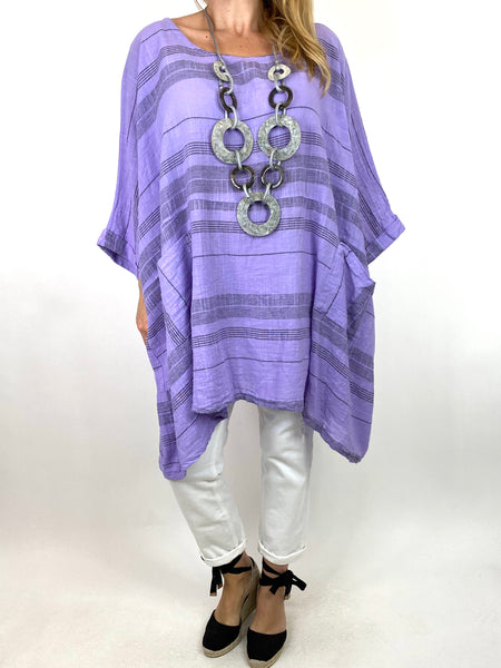 Lagenlook Maggie Stripe top in Lilac .code 8365