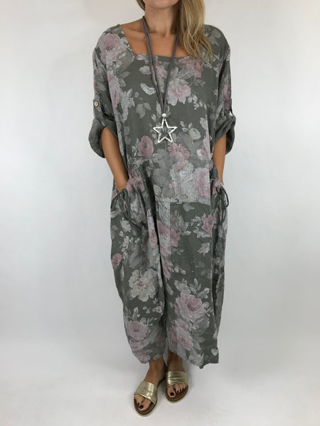 Lagenlook Floral Sleeved Linen Tunic in Khaki. code 5314