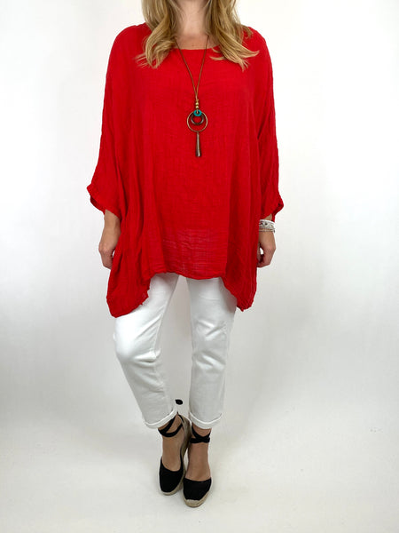 Lagenlook Nina necklace top Regular size in Red. code 9066