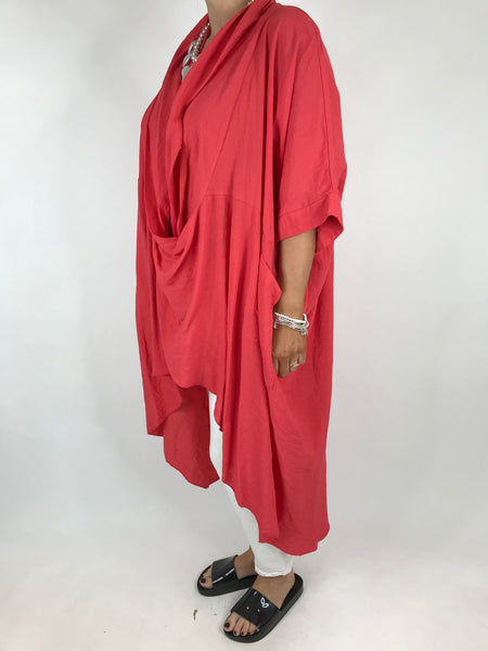 Lagenlook Cotton Wrap Dress Top in Coral. code 4990