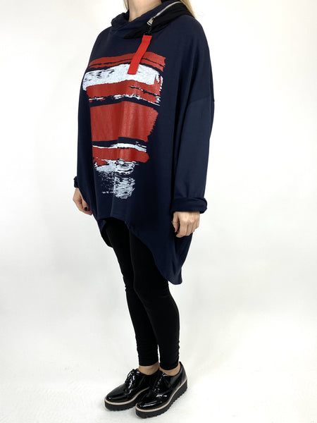 Lagenlook Stripe Paint Hood Top in Navy. code 91152 - Lagenlook Clothing UK