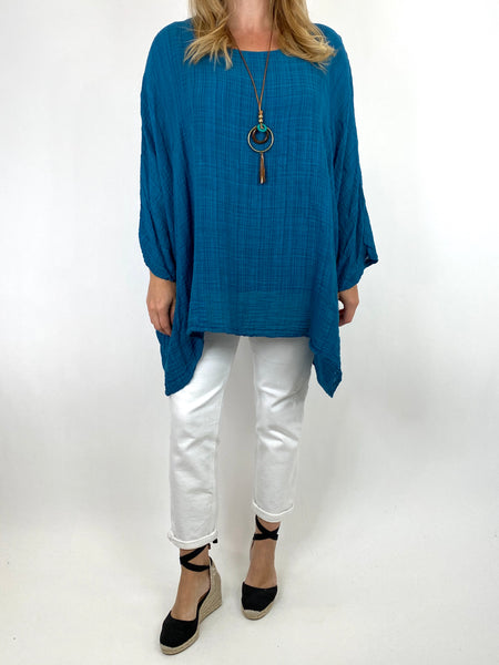 Lagenlook Nina necklace top Regular size in Teal. code 9066