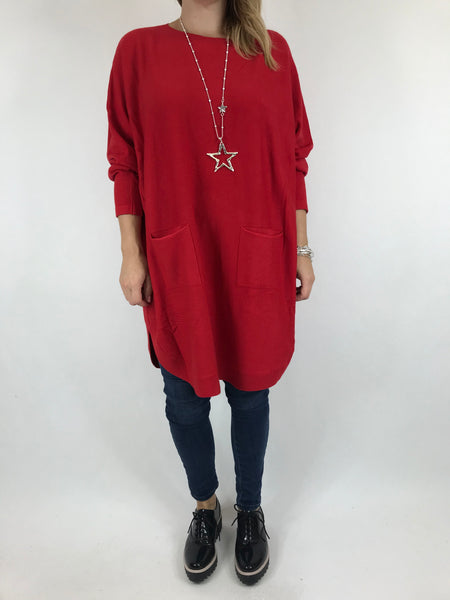 Lagenlook Joanna Bow back jumper in Red. code 5923