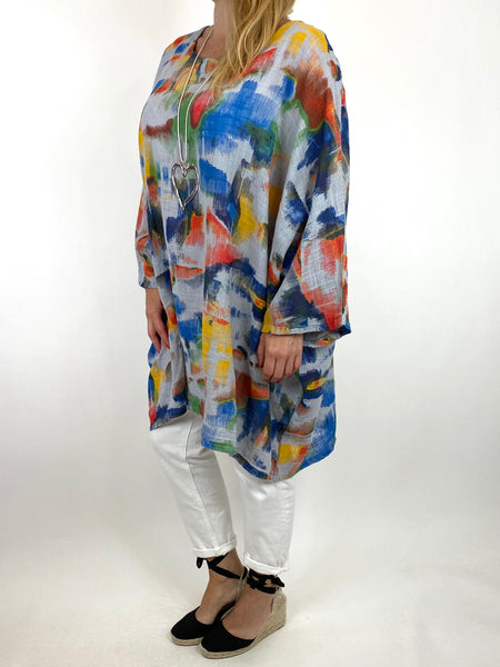 Lagenlook Artist Patterned Summer Top Grey. code 91063