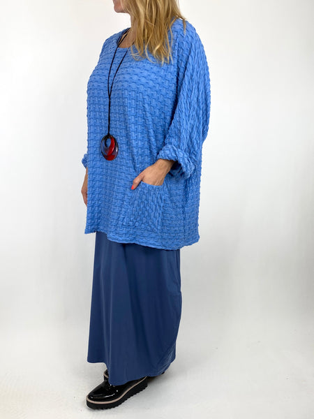 Lagenlook Celia Textured Large Waffle Pocket Top in Cotton  Blue . code 91110 - Lagenlook Clothing UK