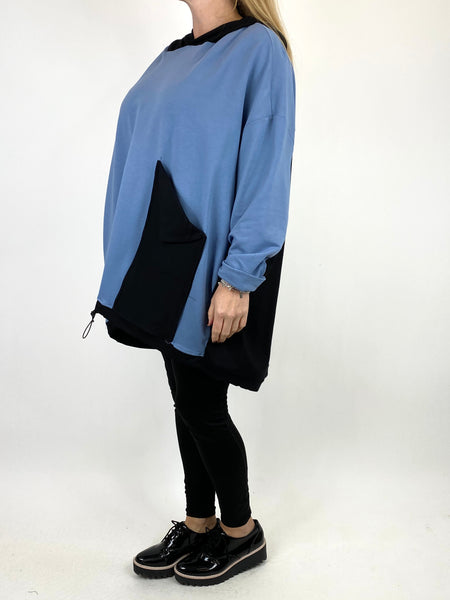 Lagenlook Kate Pocket Hood Top in Smoke Blue. code 911488 - Lagenlook Clothing UK