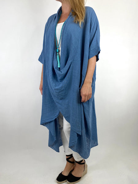 Lagenlook Cotton Wrap Dress Top in Denim. code 8307