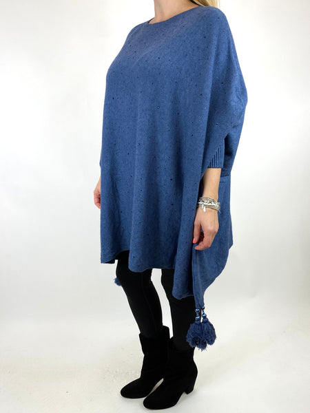 Lagenlook Carla Tassel Sparkle Jumper in Denim. code 2755 - Lagenlook Clothing UK