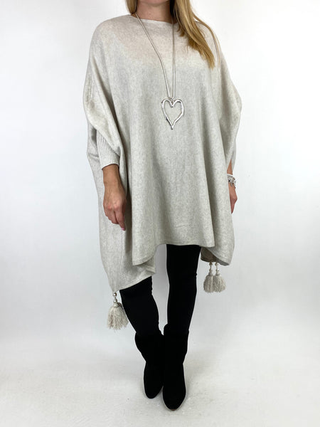 Lagenlook Ella Tassel Jumper in Cream. code 2700 - Lagenlook Clothing UK