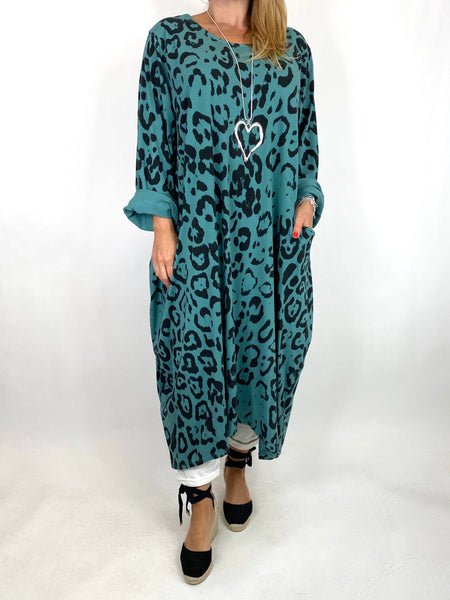Lagenlook Made In Italy Cheetah Print Tunic in Sage. code 9806