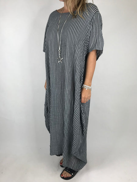 Lagenlook Maria Pinstripe Summer Tunic Dress in Charcoal Grey. code 5769