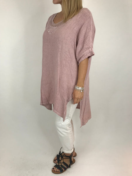 Lagenlook Stella Sequin Neck Summer Top in Pale Pink. code 8394
