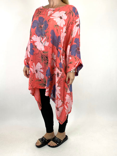 Lagenlook Monica Flower Top In Coral. code 7365