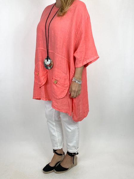 Lagenlook Hurley Pocket Linen top in Coral. code 2122