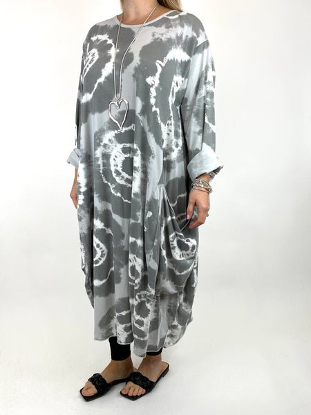 Lagenlook Celeste Tie-dye Side Pocket Tunic in Pale Grey .code 9904 - Lagenlook Clothing UK