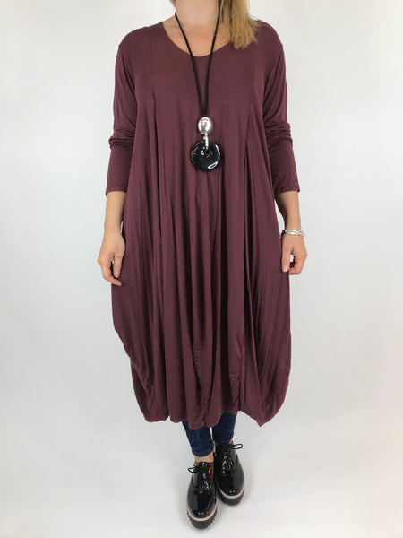 Lagenlook Long Plain V Neck Tunic In Wine. code 5983