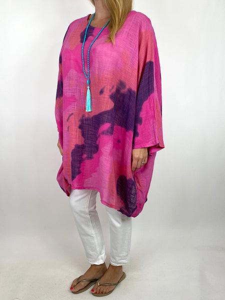 Lagenlook  Splash Top in Fuchsia. code 91006S